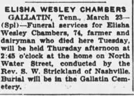 Obituary for ELISHA WESLEY CHAMBERS (Aged 74) - Newspapers.com