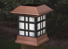 solar post lantern designer cap lights brighten your deck fence or rail for . Solar Post Lantern Outdoor Lamp Top Lighting