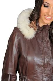 womens fitted parka leather jacket with detachable fur hood coat mila brown