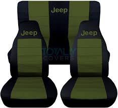 jeep wrangler black and hunter green jeep logo seat covers