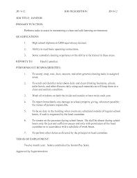 Janitor Job Description For Resume Beautiful Custodian Job Resume Festooning Documentation Template 23