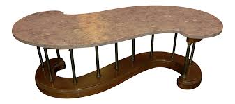 S Shaped Coffee Table S Shaped Wood And Brass Marble Top Coffee Table Chairish