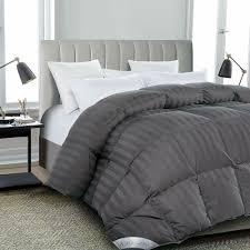 details about luxurious all seasons goose down comforter queen size duvet insert gray stripe