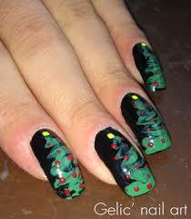 Gelic' nail art: Needle Dragging Christmas Tree nail art
