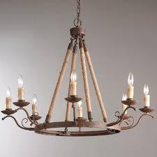 rod iron lighting. Rustic Iron Rope Wrapped Chandelier Rod Lighting