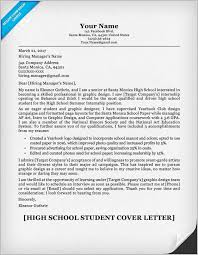 High School Cover Letter Sample Resume And Cover Letter For High