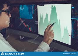 Professional Stock Chart For Pc Young Businessman Hand Pointing To Stock Market Chart On