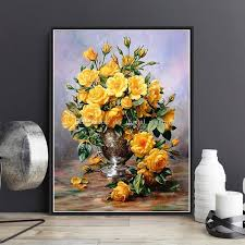 2019 framed on canvas diy digital oil painting by numbers wall yellow flower vase painting acrylic painting hand painted home decor for living from