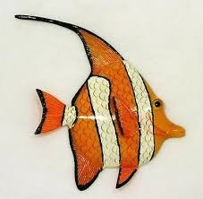 tropical bright orange striped angel fish wall hanger bath decor