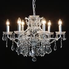 medium antique silver shallow 6 arm alexandra chandelier decorum designs