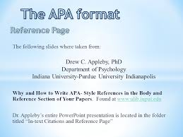 Apa Style Reference Page The Apa Format Reference Page Drew C Appleby2c Phd
