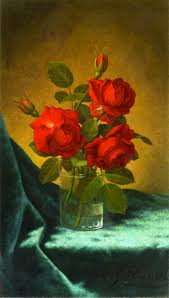 still life with red roses martin johnson heade oil painting