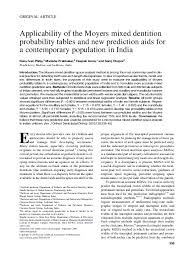 Moyers Probability Chart Pdf Applicability Of The Moyers Mixed Dentition Probability