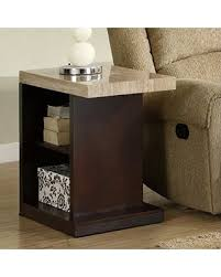 marble top end tables. Homelegance Schmid Faux Marble Top End Table With Shelf, Cream And Dark Cherry Tables E