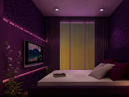 Small Purple Bedroom Elegant Purple Bedroom With Tv On Wall And Recessed Lighting For