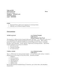 Resume For Nursing Job Nurse Sample Without Experiencea Cv Cover