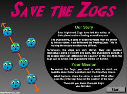 save the zogs supports grade 6 common core math standards in expressions and equations as well