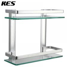 kes bathroom 2 tier glass shelf with rail aluminum and extra thick tempered glass shower shelving