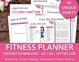 workout and food journal fitness journal etsy
