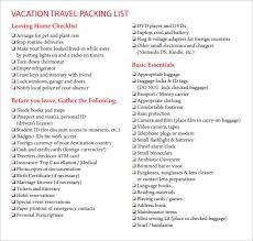 7+ Vacation Checklist Samples | Sample Templates
