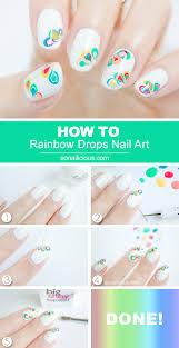 Rainbow Drops Drag Marble Nail Art - Tutorial | Marble nail art ...