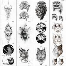 черные поддельные мужские геометрические временные татуировки льва