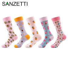 SANZETTI <b>5 pairs</b>/<b>lot Women's Funny</b> Colorful Combed Cotton ...