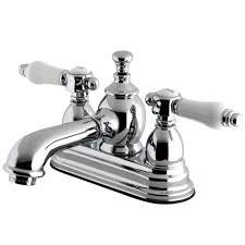 kingston brass vintage porcelain 4 in centerset 2 handle mid arc bathroom faucet