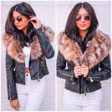 jacket one nation clothing leather jacket fur trim jacket fur collar leather jacket fur collar black