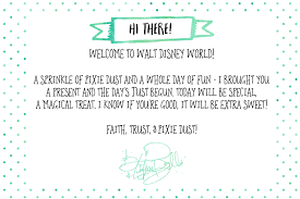 free printable note from tinker bell for disney world vacation wit wander