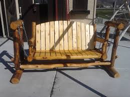 outdoor glider rocker. Log Porch Glider With Chains For Outdoor Furniture Ideas Rocker I