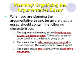 argumentative essay  6 planning organizing the argumentative essay
