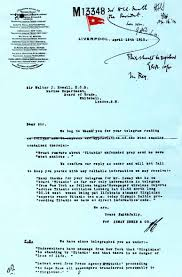 titanic disaster historical document archive titanic white star memo