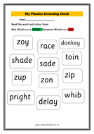More first grade phonics worksheets & resources. Year 1 Phonics Screening Worksheet Teaching Resources