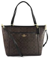 Coach Peyton Signature Pocket Tote - Brown Black