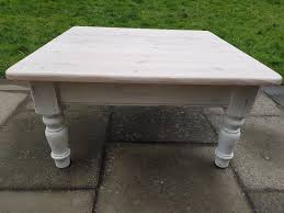 large 91 x 91cm square rustic pine farmhouse coffee table white limed shabby chic