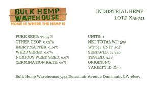 Certified Planting Hemp Grain Fiber Seeds Per Lb