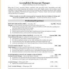 Resume Examples Of Restaurant Resumes Sample For Assistant Floor