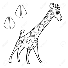 Paw Print With Giraffe Coloring Pages Vector Royalty Free Cliparts