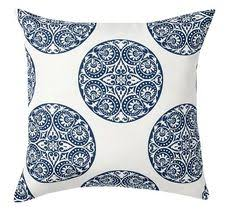 blue and white pillows. Exellent White Greta Blue And White Medallion IndoorOutdoor Pillow  Pottery Barn Indoor  Outdoor Outdoor Throughout And Pillows D