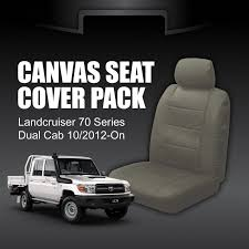 canvas car seat covers toyota landcruiser dual cab 70 vdj76 vdj78 vdj 79series workmate gxl 10 2016 on 2 rows