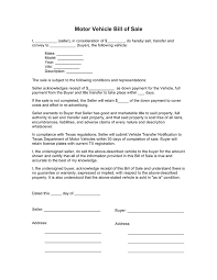 Motor Vehicle Bill Of Sale Texas In Word And Pdf Formats