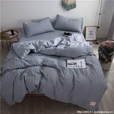 blue white stripe bedding set yarn dyed