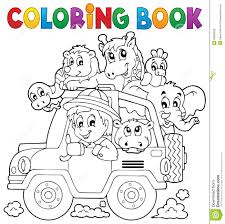 coloring book car traveller theme 2 stock vector ilration of automobile eps10