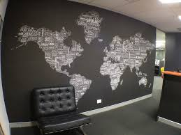 best office in the world. World Map Wallpaper For Office Best Worldtextmap White Black Installed In The