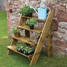 grange pressure treated wooden steps garden plant pot stand