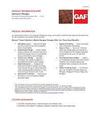 Gaf Monaco Designer Shingles Product Information Sheet Product Information Monaco