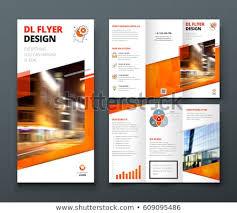 dl layouts tri fold brochure design orange dl stock vector royalty free