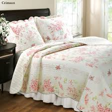 Coral Cotton Quilt Bedding Set & Coral Quilt Set Blue Adamdwight.com