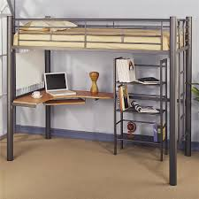 image of full size metal loft bed shelf part 26